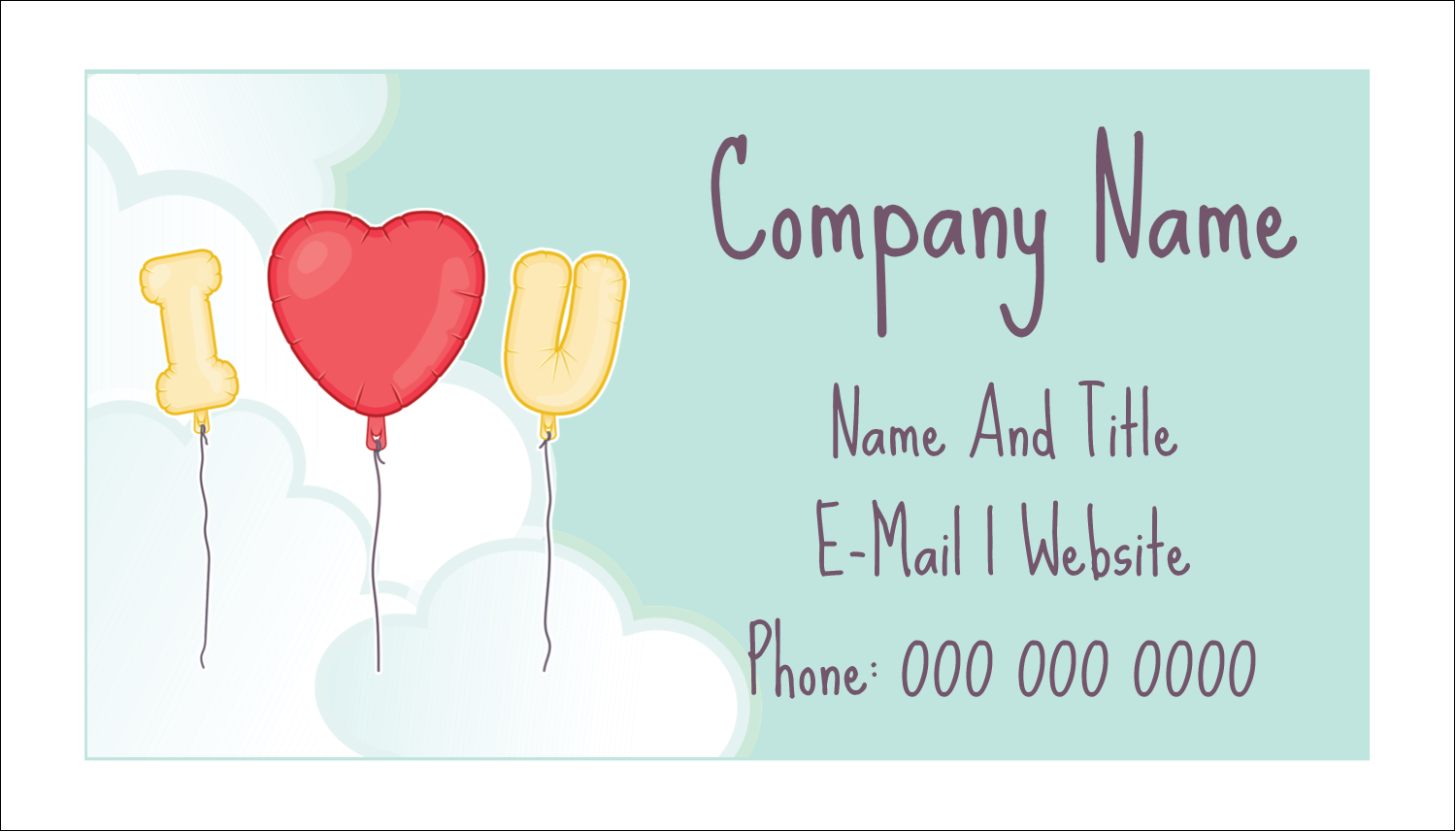 "2"" x 3½"" Business Card - Valentine Balloon Love"