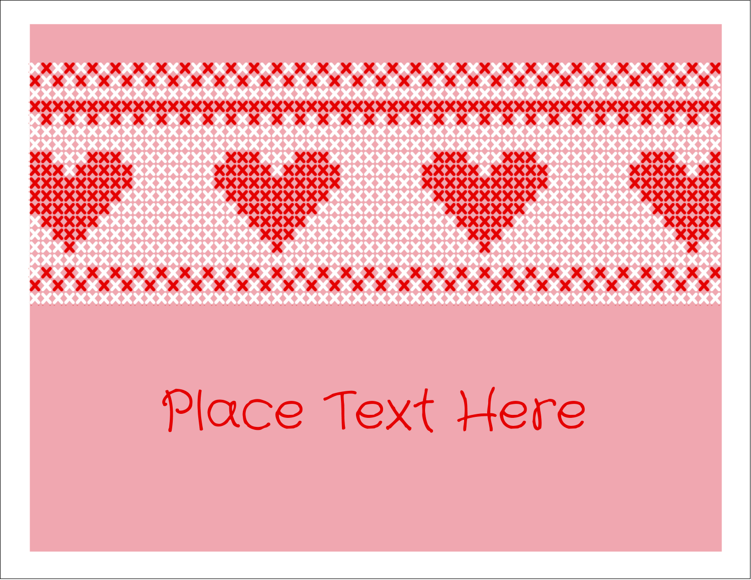 "5½"" x 4¼"" Note Card - Valentine Cross Stitch"