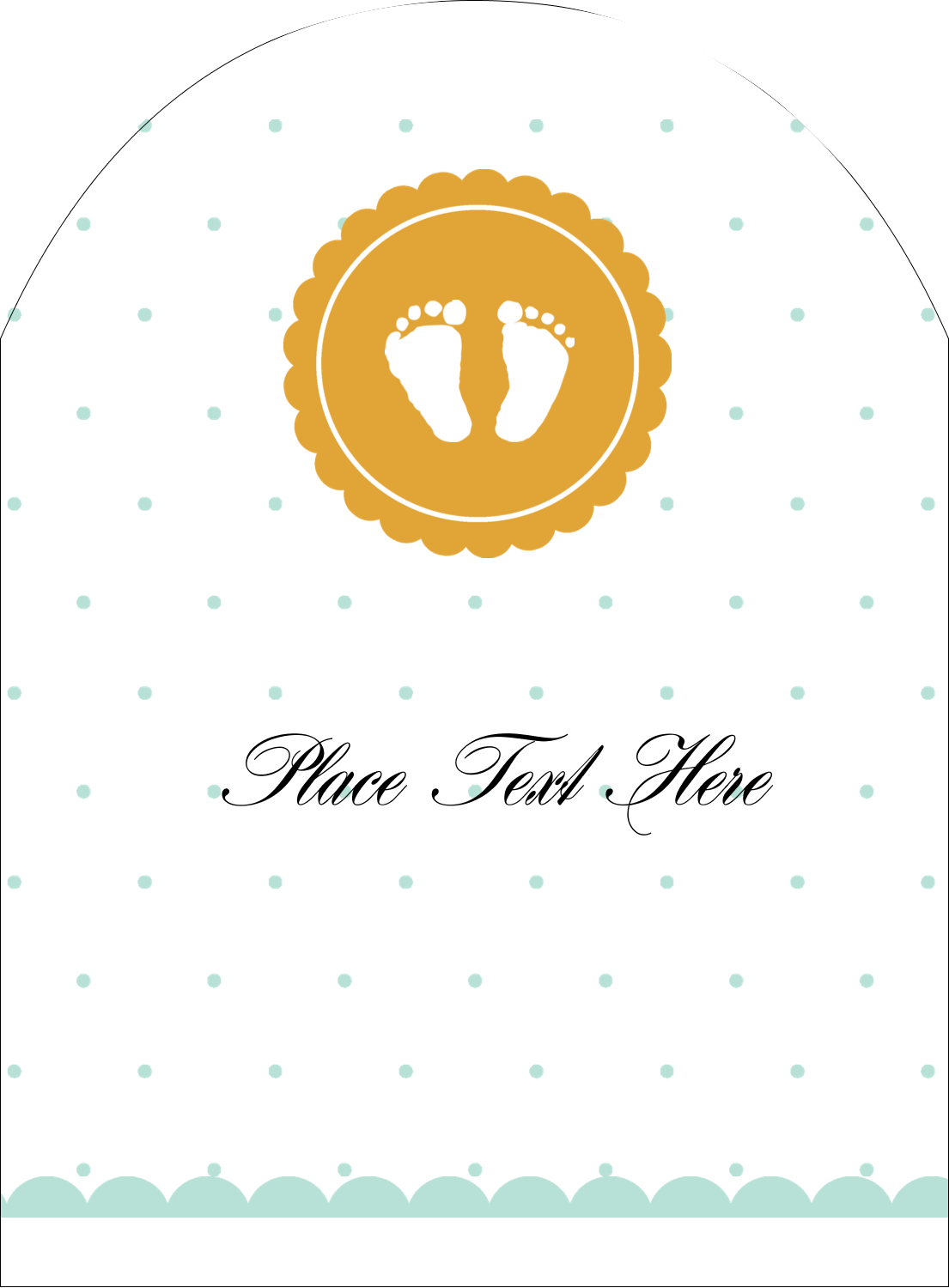 "4¾"" x 3½"" Arched Label - Baby Footprints"