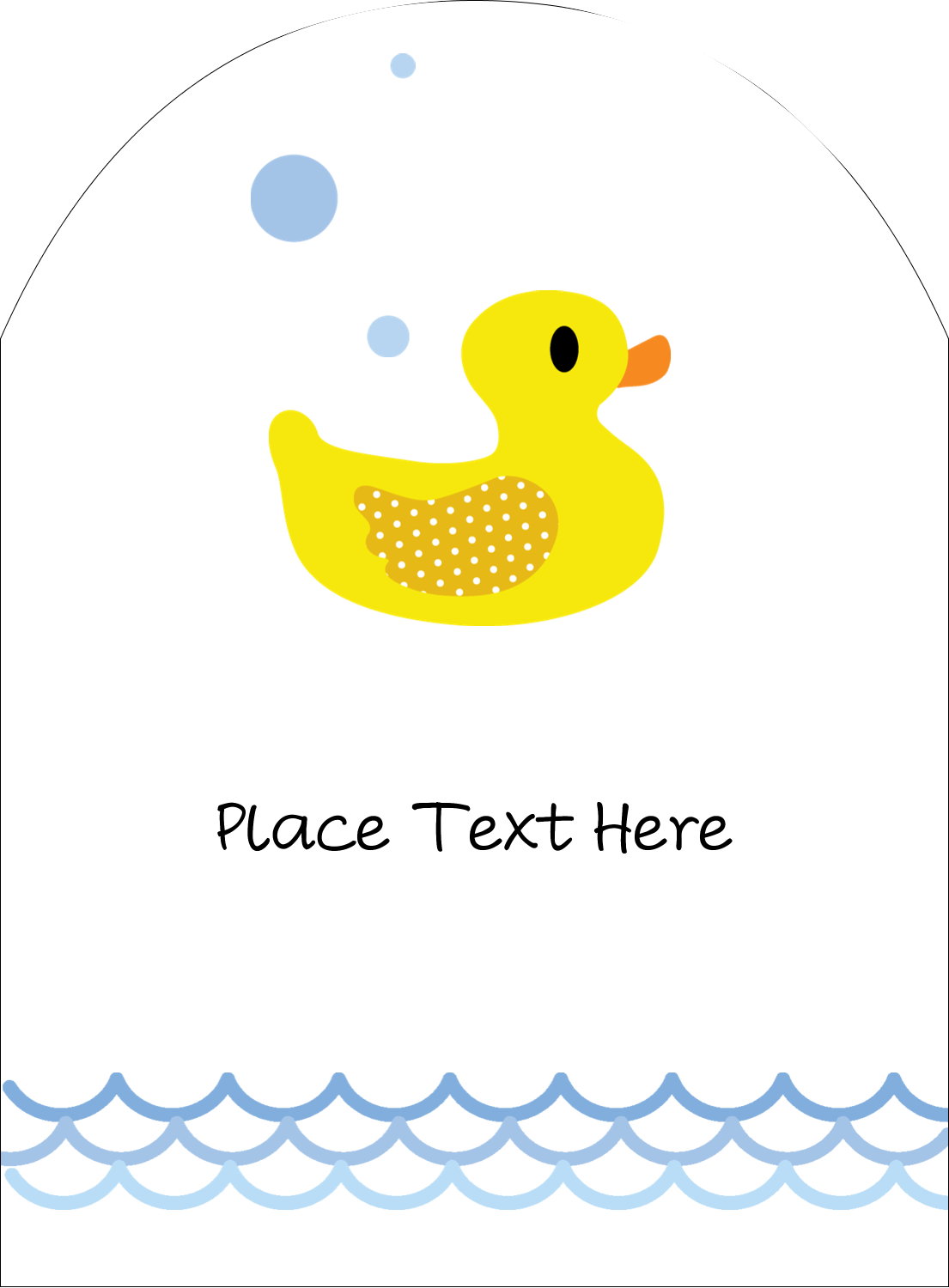 "4¾"" x 3½"" Arched Label - Baby Duckie"