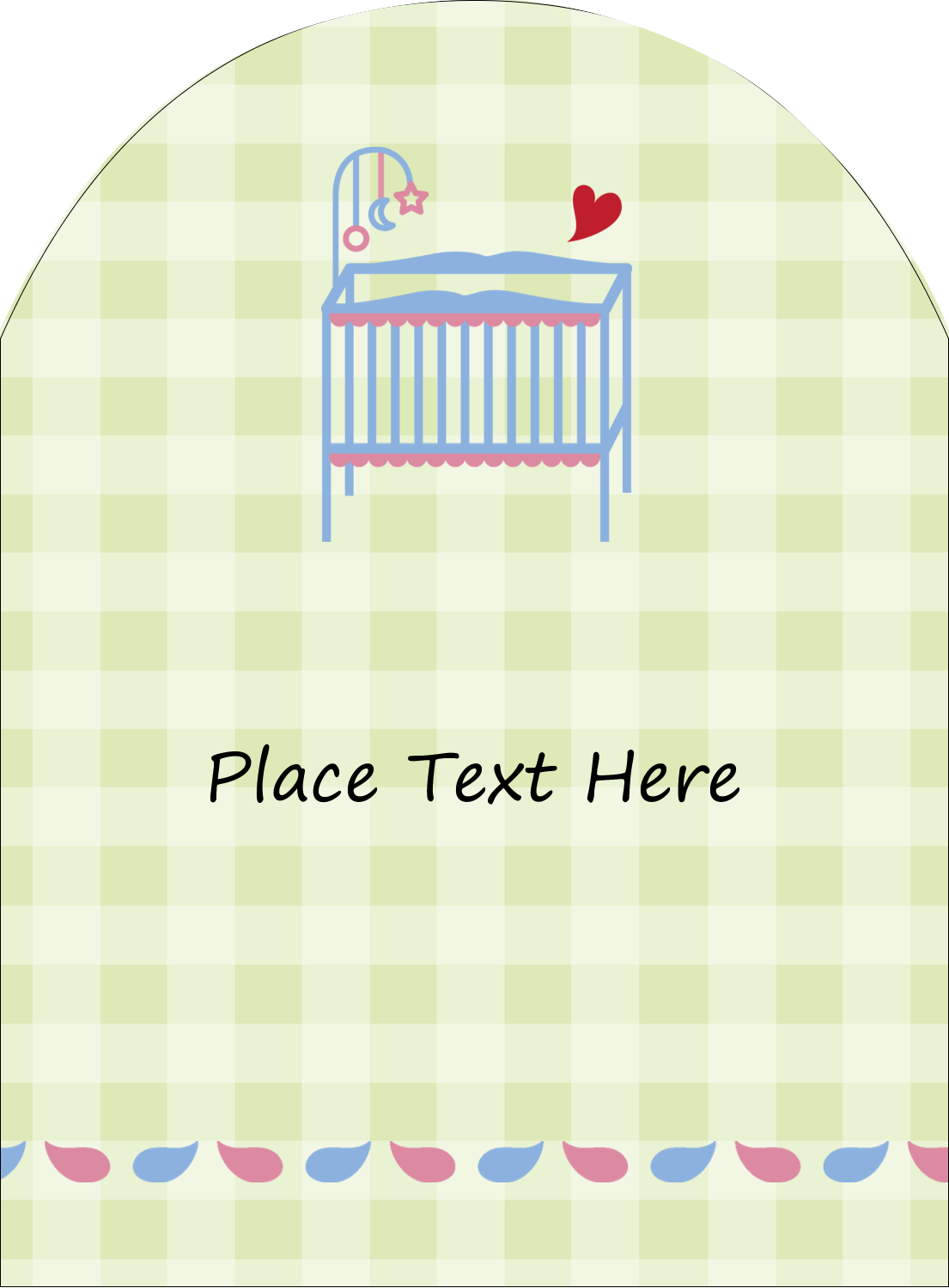 "4¾"" x 3½"" Arched Label - Baby Crib"