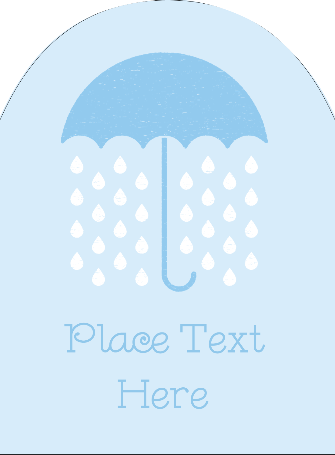 "4¾"" x 3½"" Arched Label - Baby Umbrella"