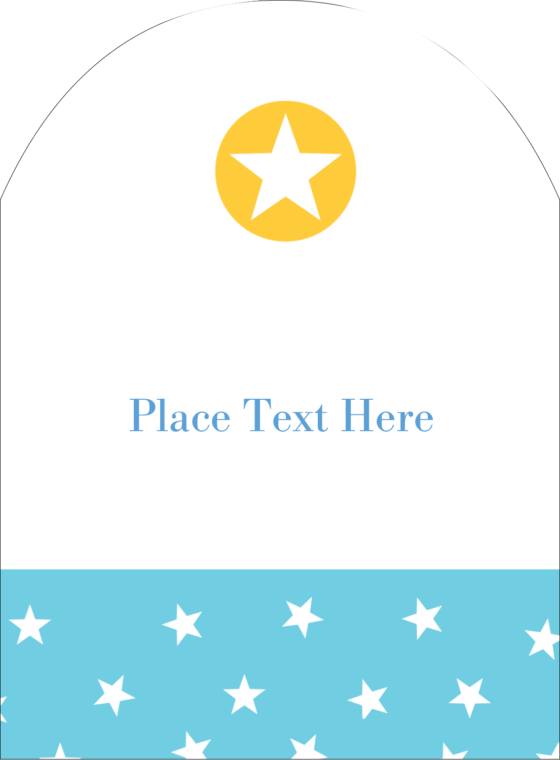 "4¾"" x 3½"" Arched Label - Blue Yellow Stars"