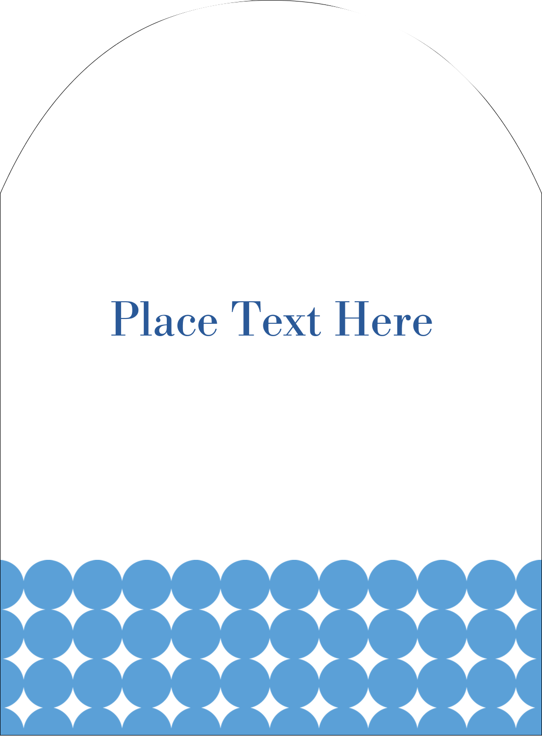 """4¾"""" x 3½"""" Arched Label - Blue Circles"""