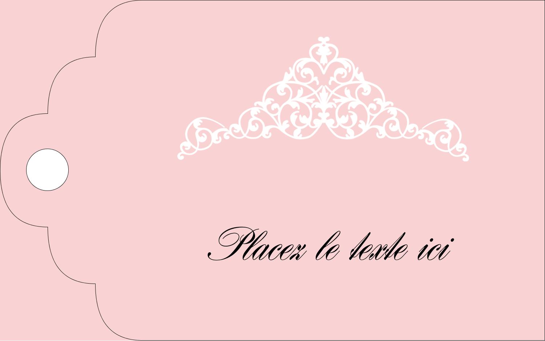 """2"""" x 1⅛"""" Étiquettes imprimables - Diadème rose"""