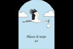 Cigogne et bébé d'antan Étiquettes rectangulaires - gabarit prédéfini. <br/>Utilisez notre logiciel Avery Design & Print Online pour personnaliser facilement la conception.