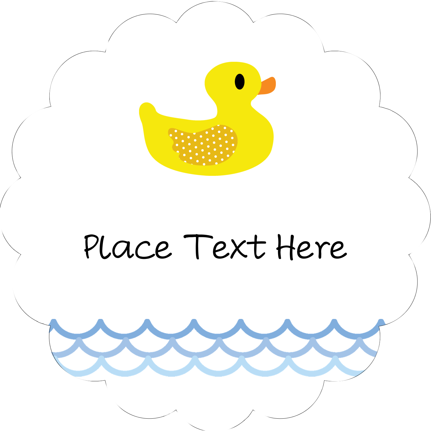 """2"""" Scallop Oval Label - Baby Duckie"""