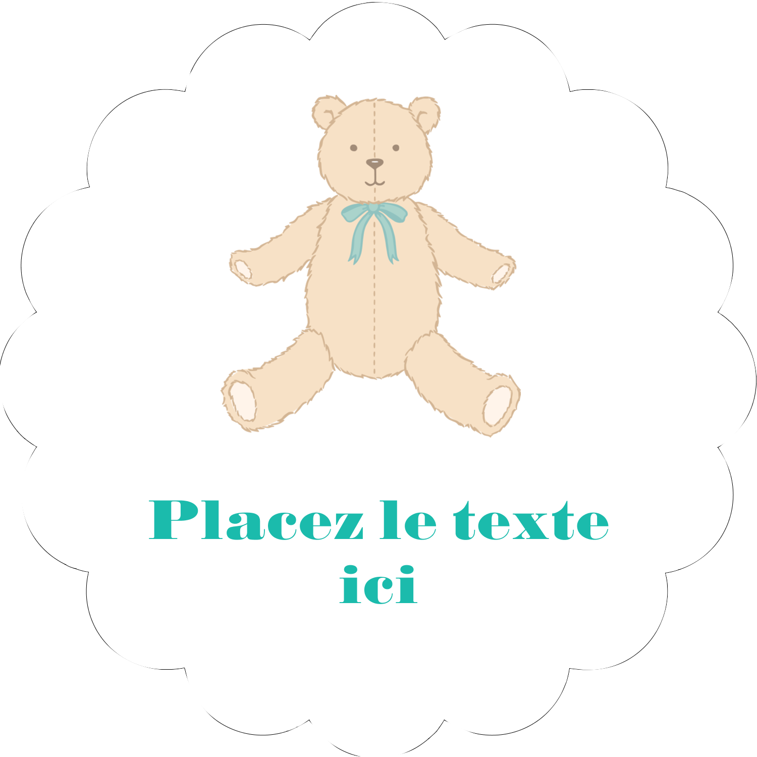 "2"" Scallop Oval Label - Baby Teddy Bear"