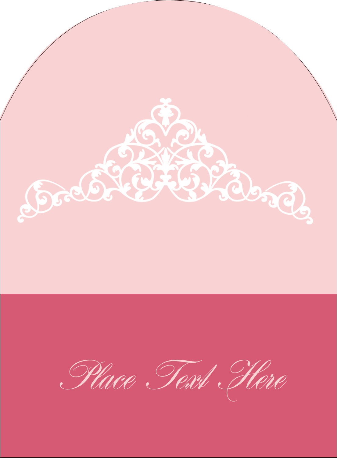 "4¾"" x 3½"" Arched Label - Pink Tiara"