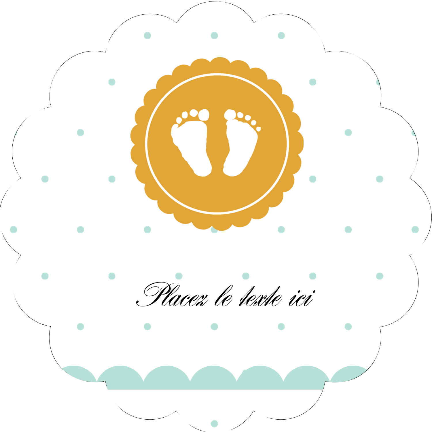 "2"" Scallop Oval Label - Baby Footprints"