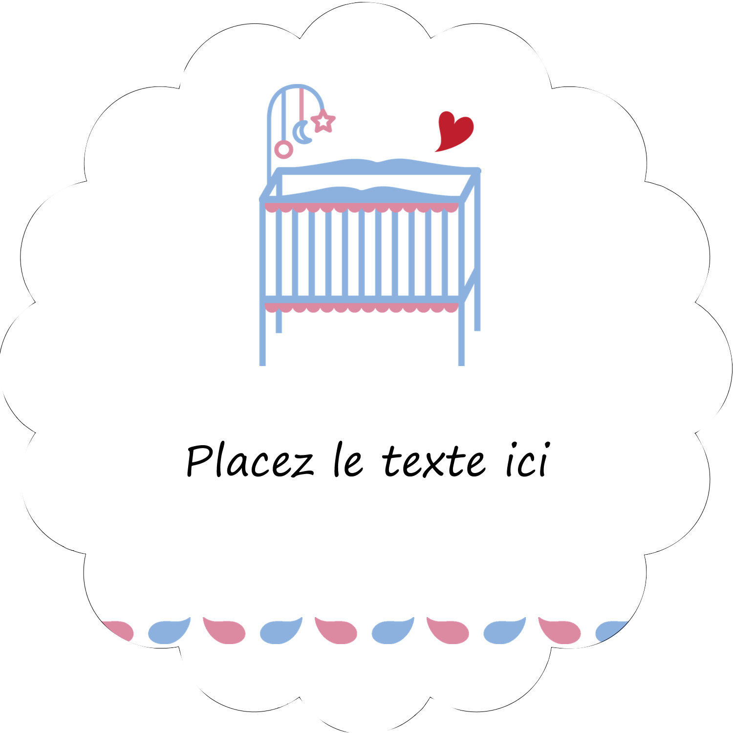 """2"""" Scallop Oval Label - Baby Crib"""