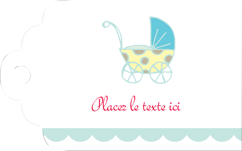 """2"""" x 1⅛"""" Étiquettes imprimables - Poussette pour bébé avec tons bleus"""
