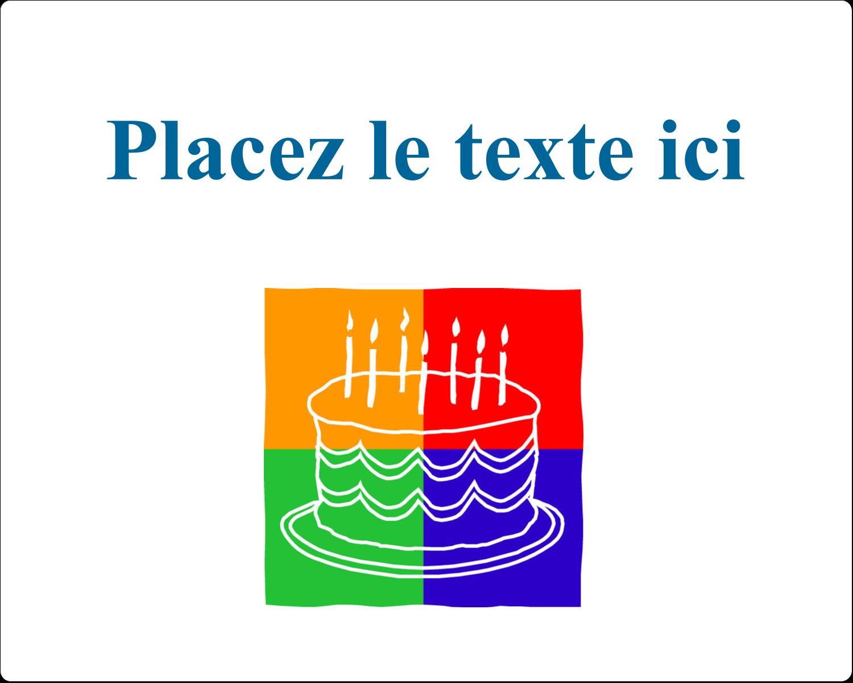 """3"""" x 3¾"""" Étiquettes rectangulaires - Gâteau d'anniversaire"""
