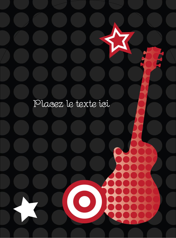 """4¾"""" x 3½"""" Étiquettes arrondies - Guitare d'anniversaire"""