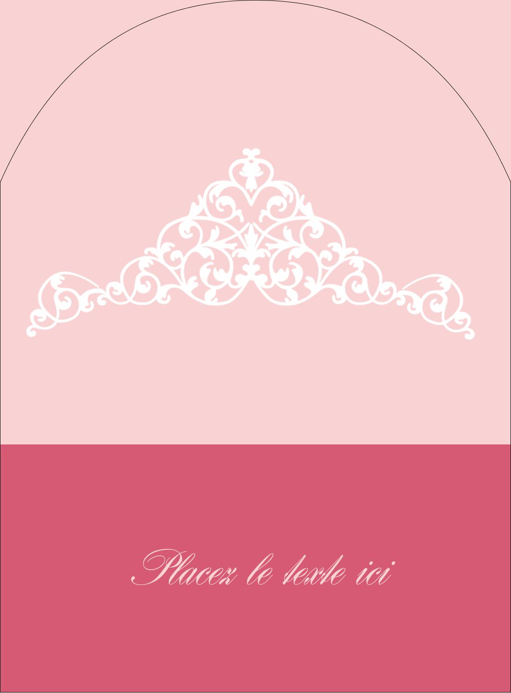 """4¾"""" x 3½"""" Étiquettes arrondies - Diadème rose"""