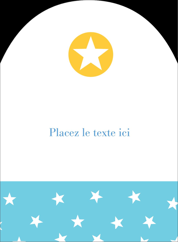 """4¾"""" x 3½"""" Étiquettes arrondies - Étoiles avec tons bleus et jaunes"""