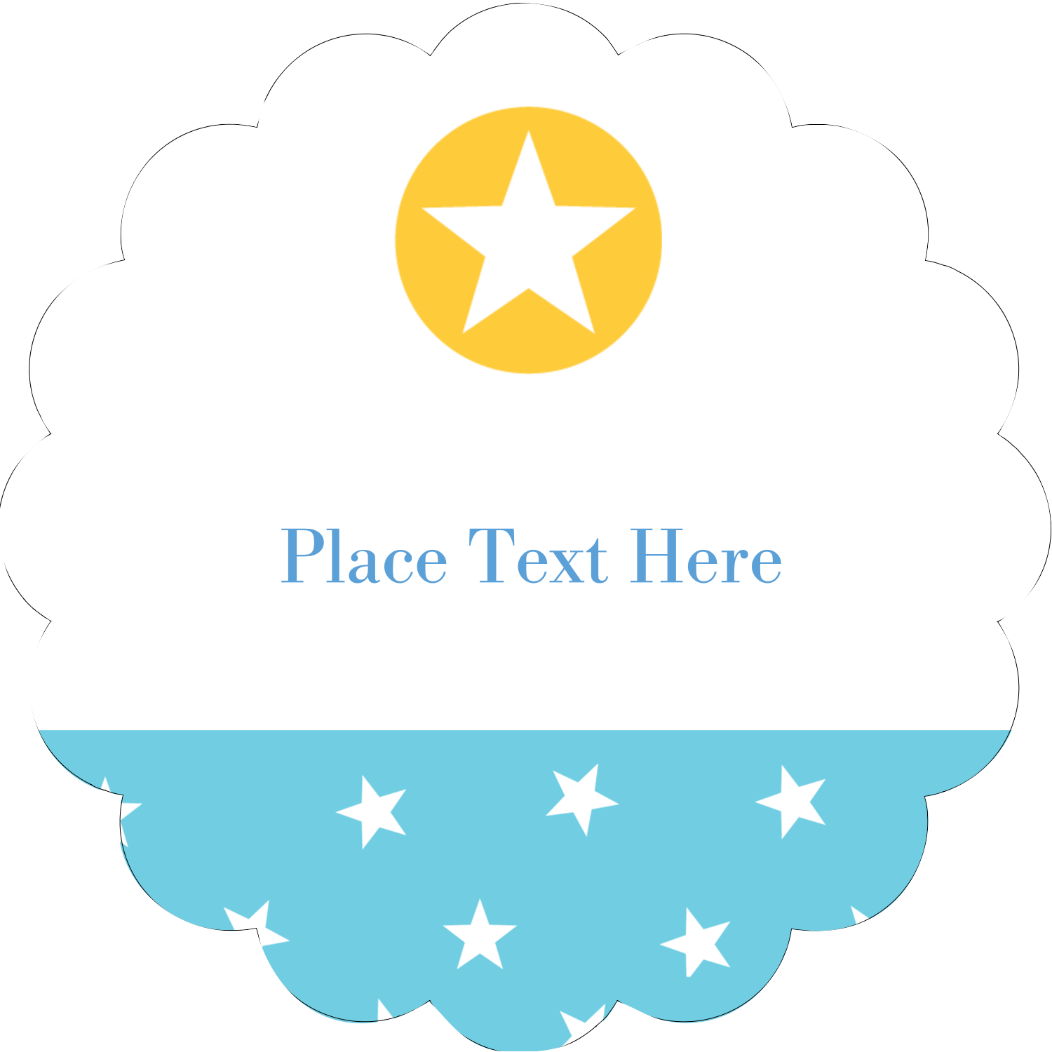 """2"""" Scallop Oval Label - Blue Yellow Stars"""