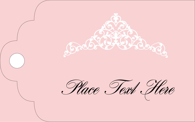 "1⅛"" x 2"" Printable Tags - Pink Tiara"