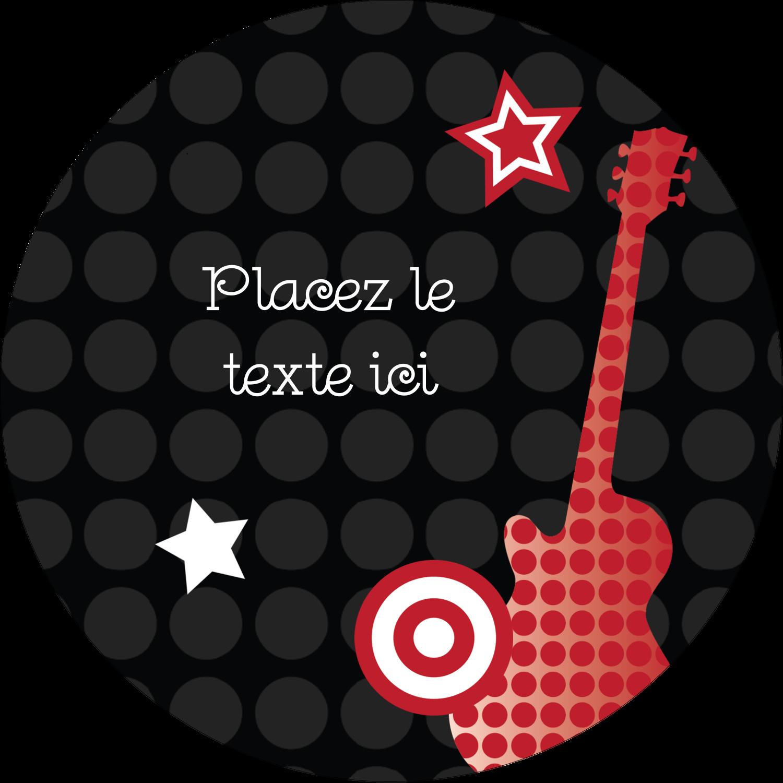 """2"""" Diameter Étiquettes rondes - Guitare d'anniversaire"""