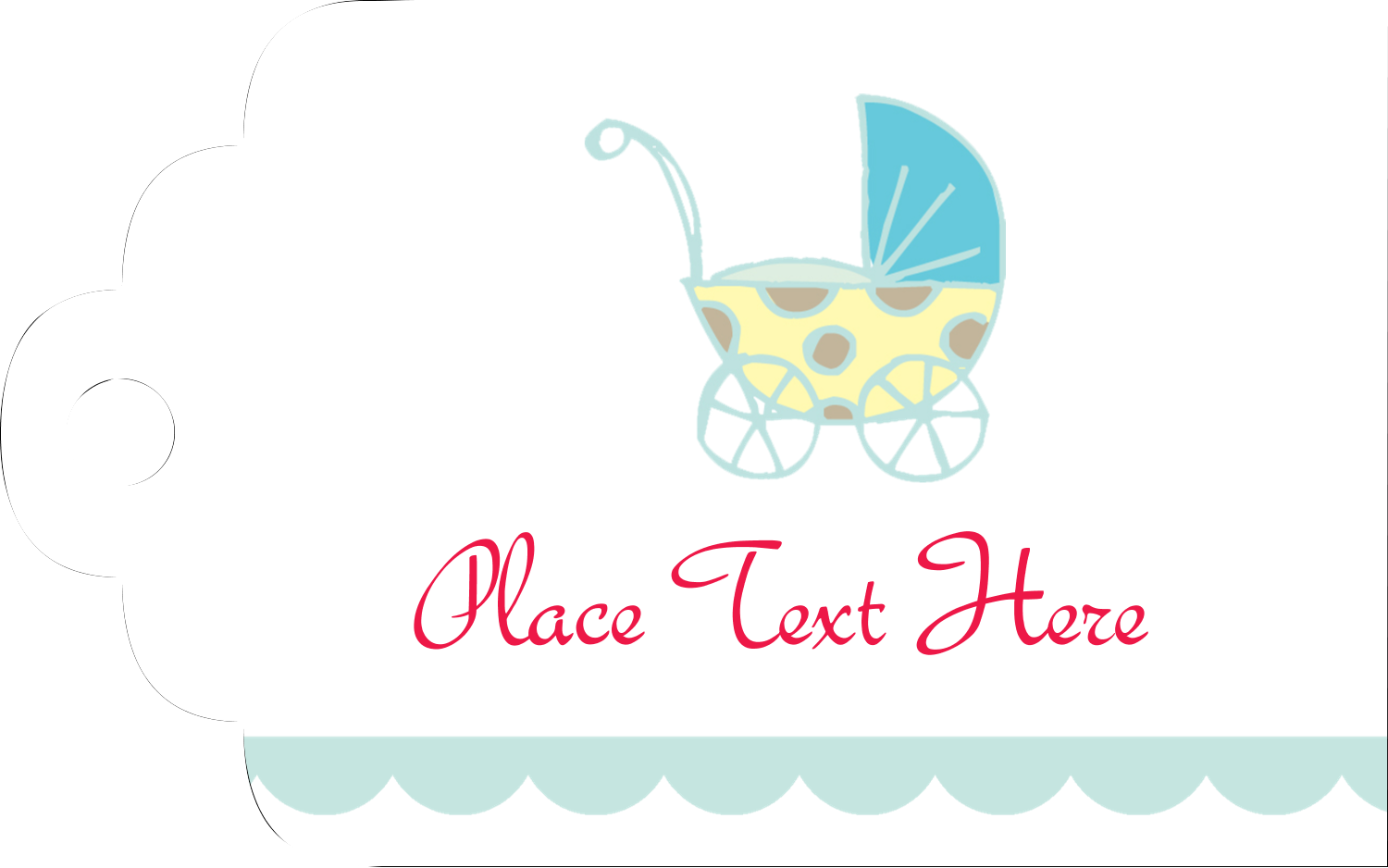 "1⅛"" x 2"" Printable Tags - Baby Stroller Blue"
