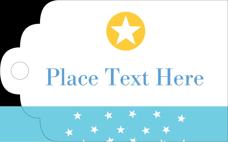 "1⅛"" x 2"" Printable Tags - Blue Yellow Stars"