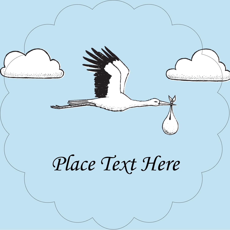 """2½"""" Scallop Labels - Baby Vintage Stork"""