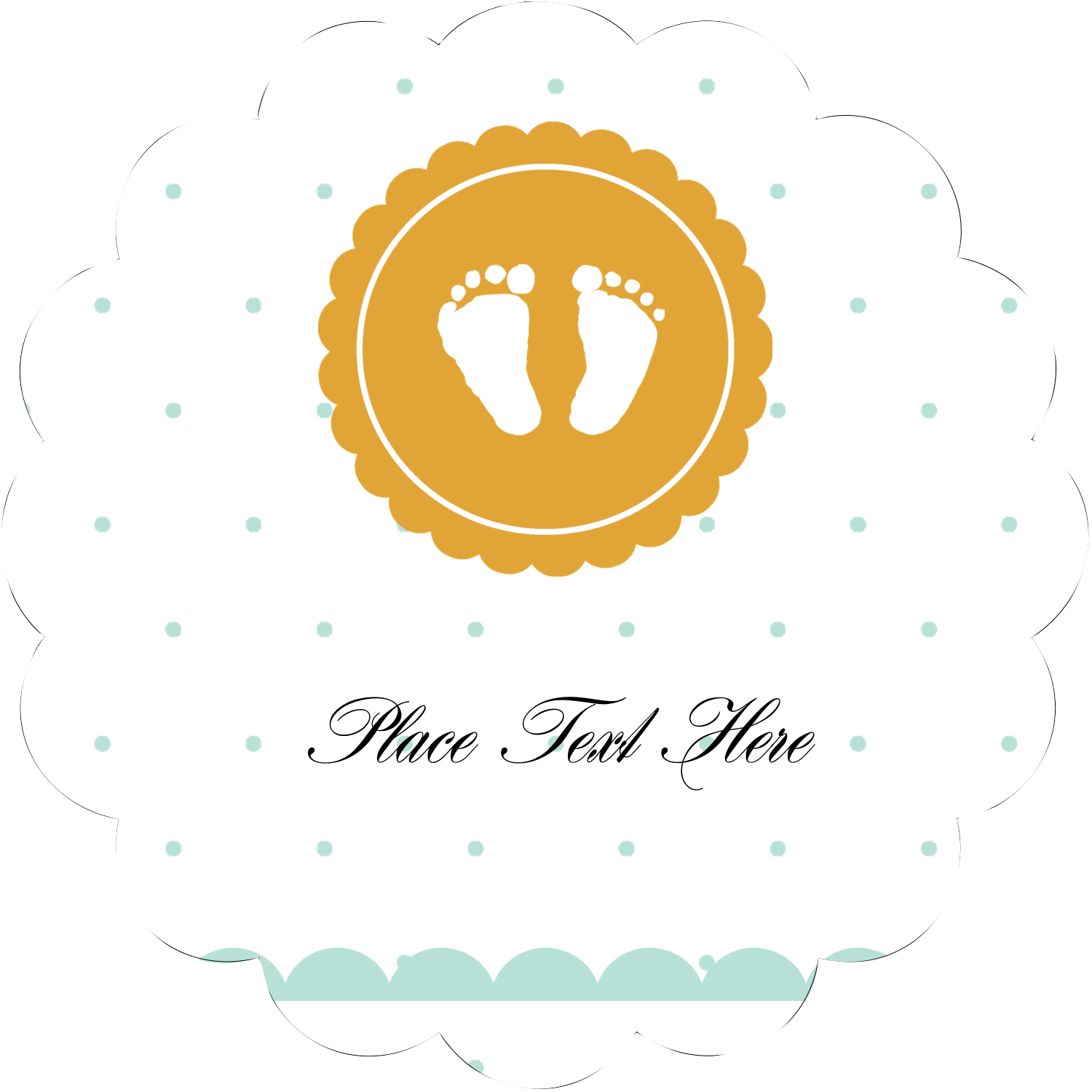 "2½"" Scallop Labels - Baby Footprints"