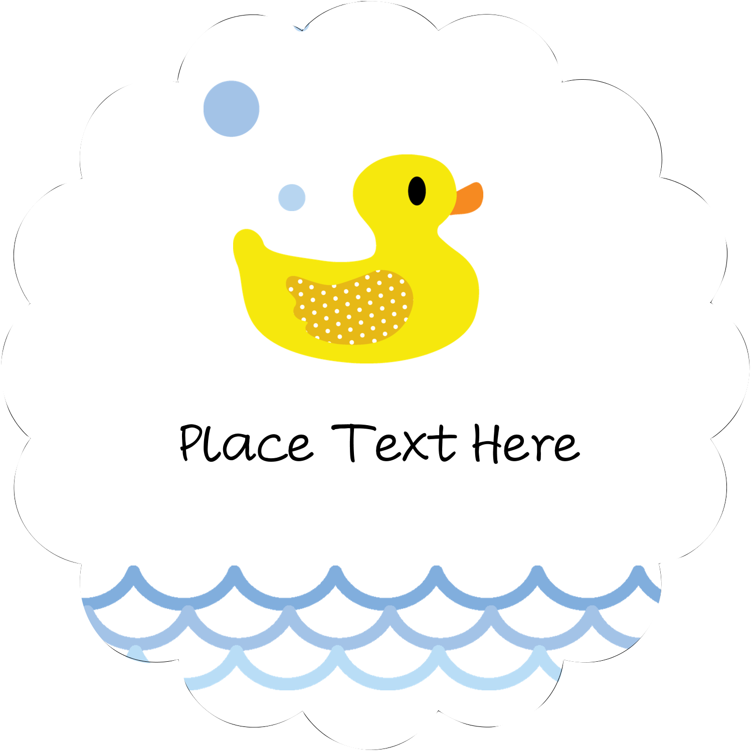 """2½"""" Scallop Labels - Baby Duckie"""