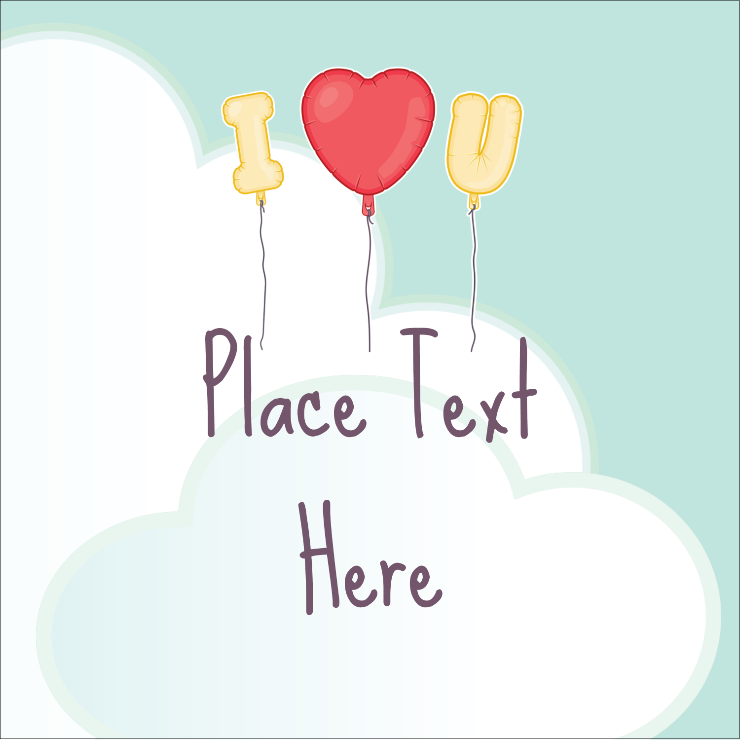 "1½"" x 1½"" Square Label - Valentine Balloon Love"