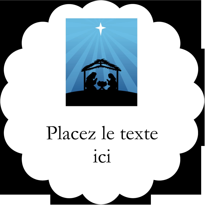 """2½"""" Diameter Étiquettes rondes - Berceau de Noël"""