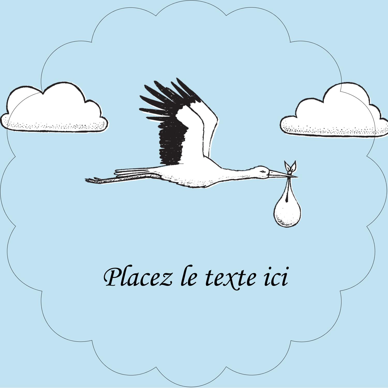 """2½"""" Diameter Étiquettes rondes - Cigogne et bébé d'antan"""