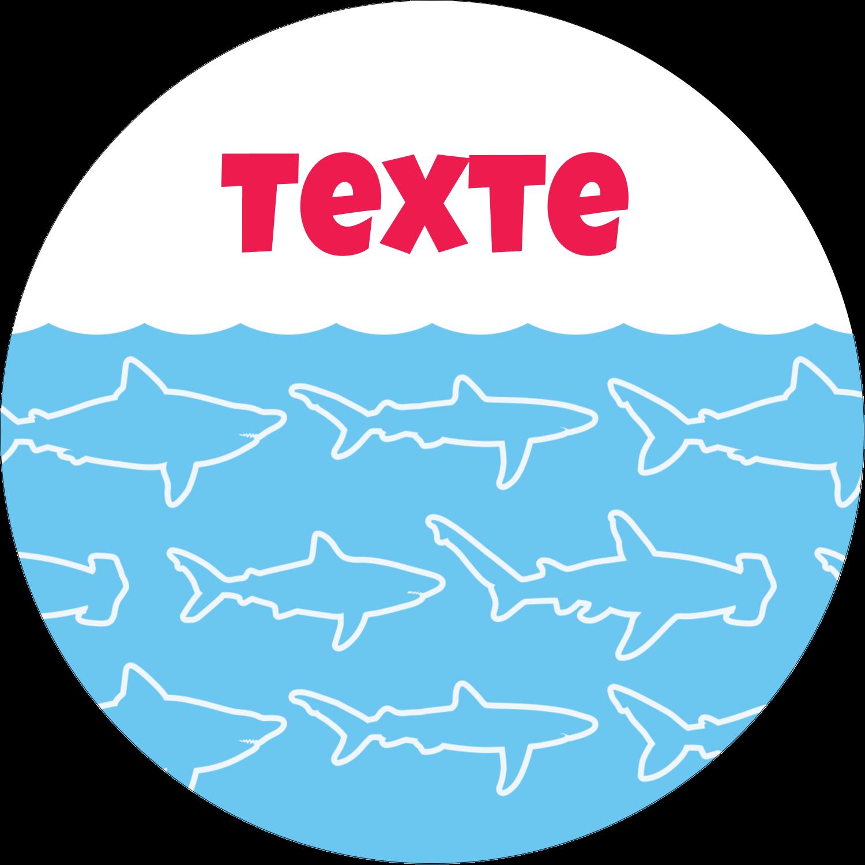 """2½"""" Diameter Étiquettes rondes - Requins bleus"""