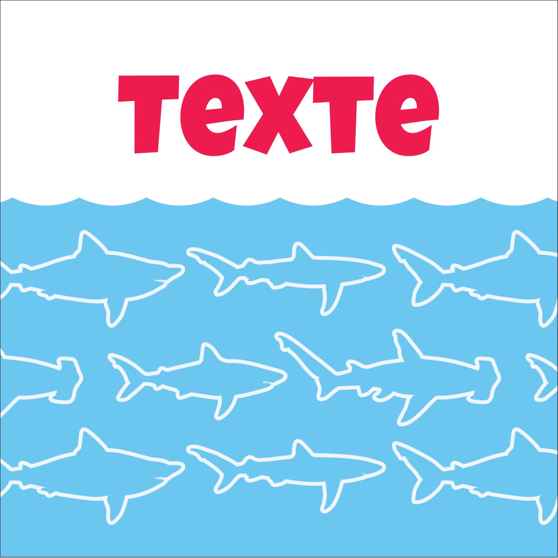 """2"""" x 2"""" Étiquettes carrées - Requins bleus"""