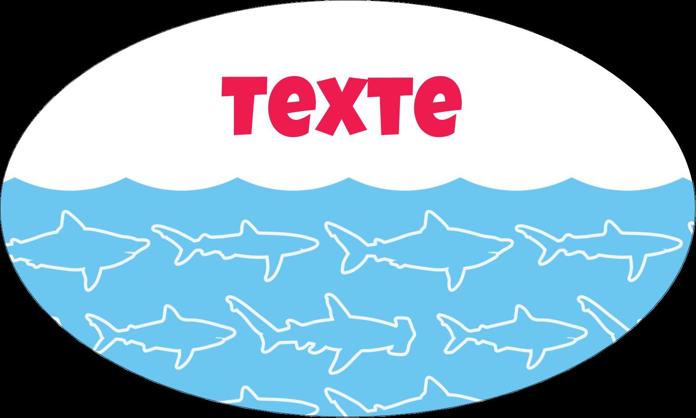 """1½"""" x 1½"""" Étiquettes carrées - Requins bleus"""