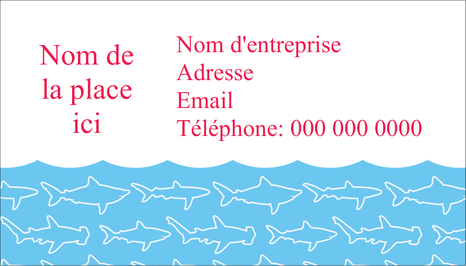 "2"" x 3½"" Carte d'affaire - Requins bleus"