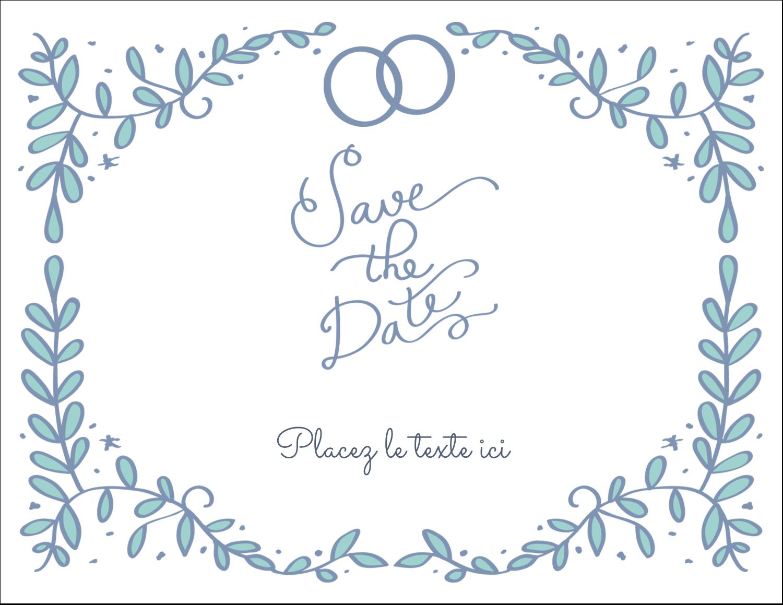 """8½"""" x 11"""" Cartes Et Articles D'Artisanat Imprimables - Réservez la date bleu"""