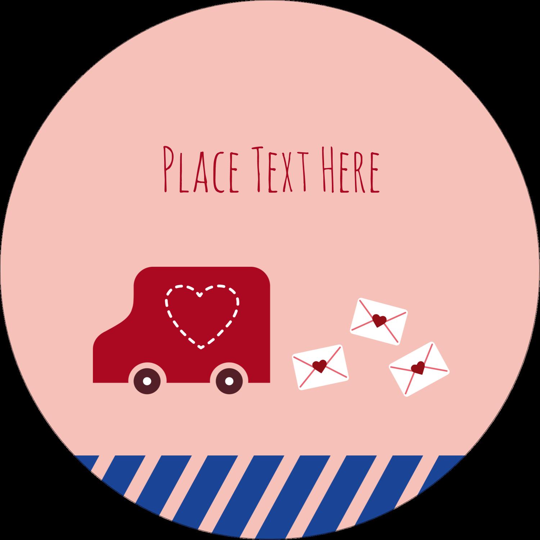 """2½"""" Round Label - Valentine Mail"""