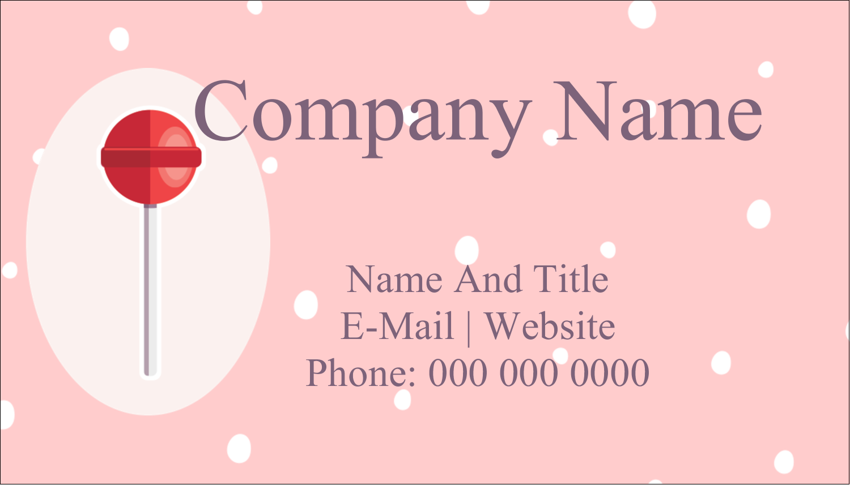 "2"" x 3½"" Business Card - Valentine Lollipop"