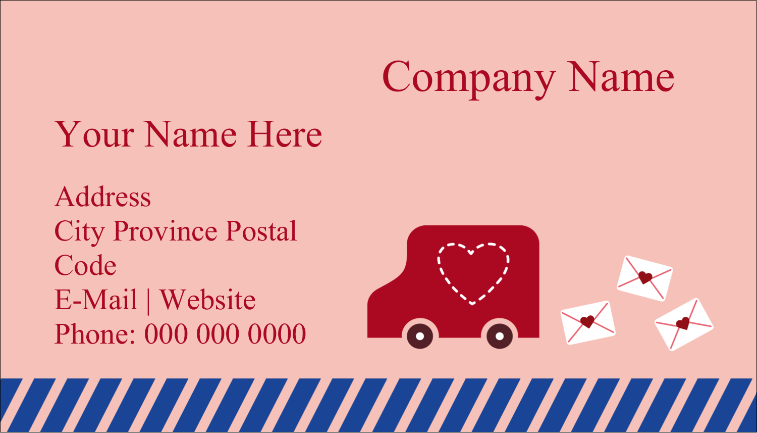 "2"" x 3½"" Business Card - Valentine Mail"