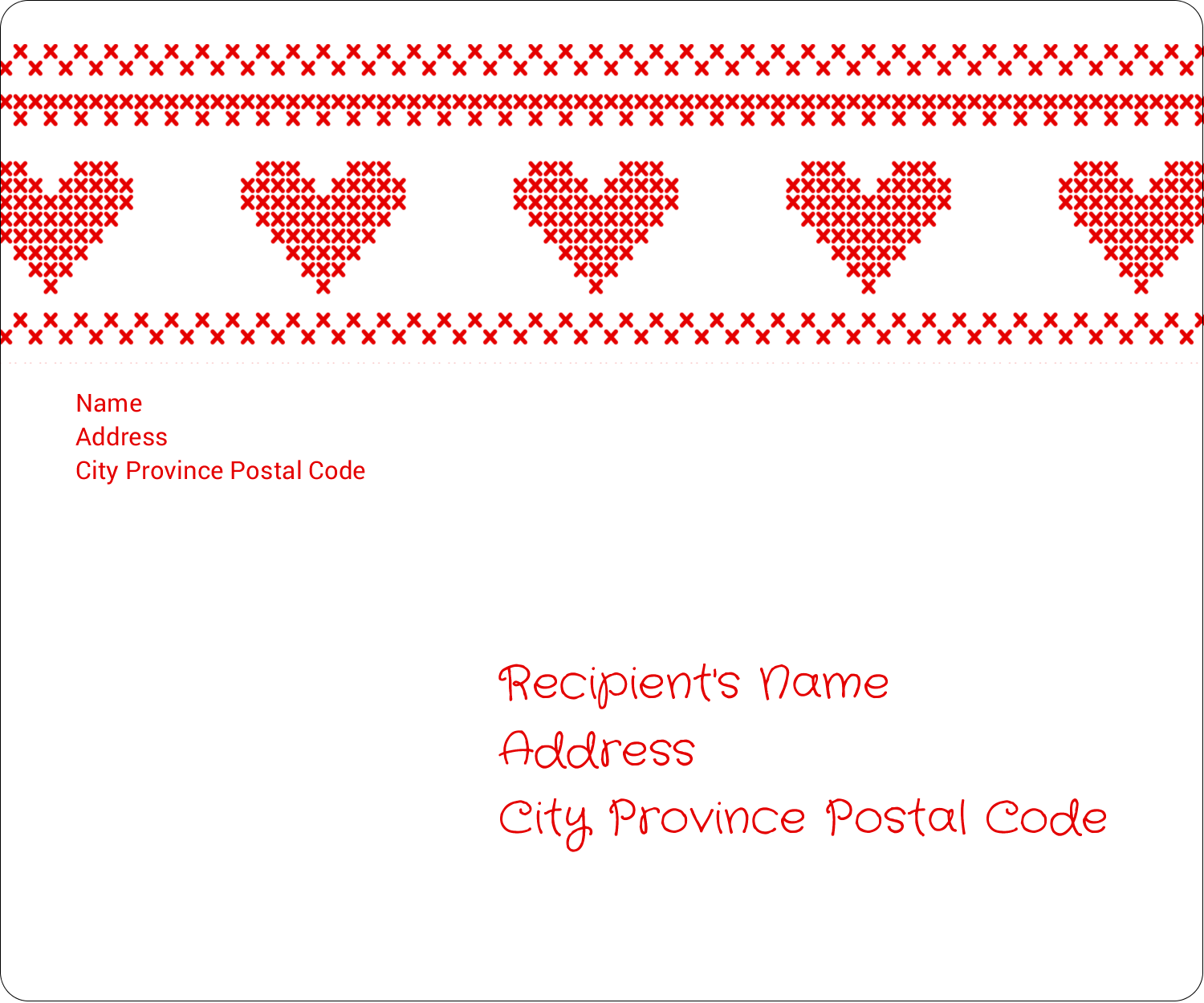 "3⅓"" x 4"" Shipping Label - Valentine Cross Stitch"