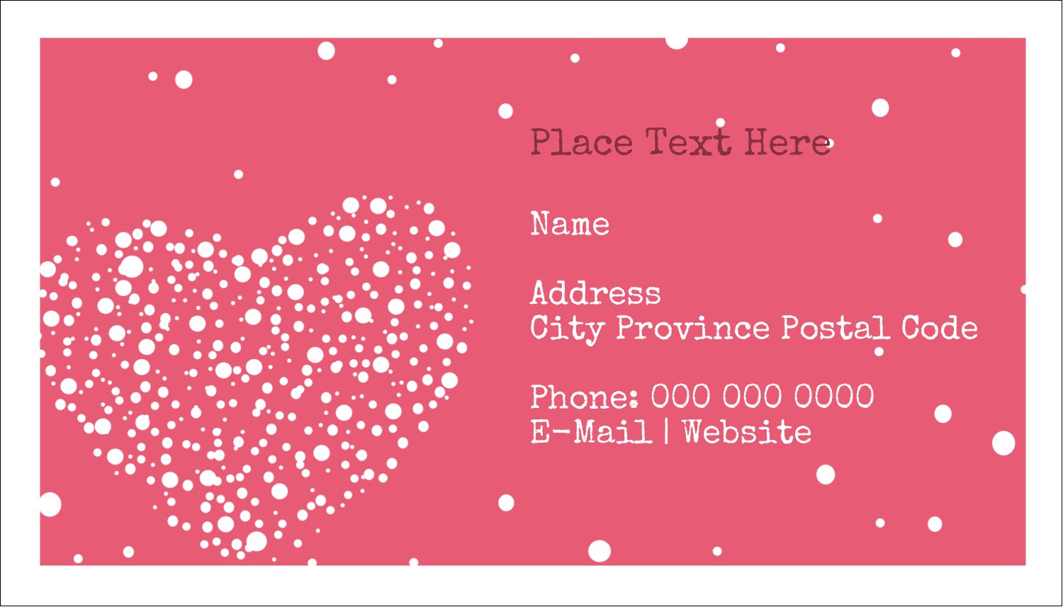 "2"" x 3½"" Business Card - Heart Spot"