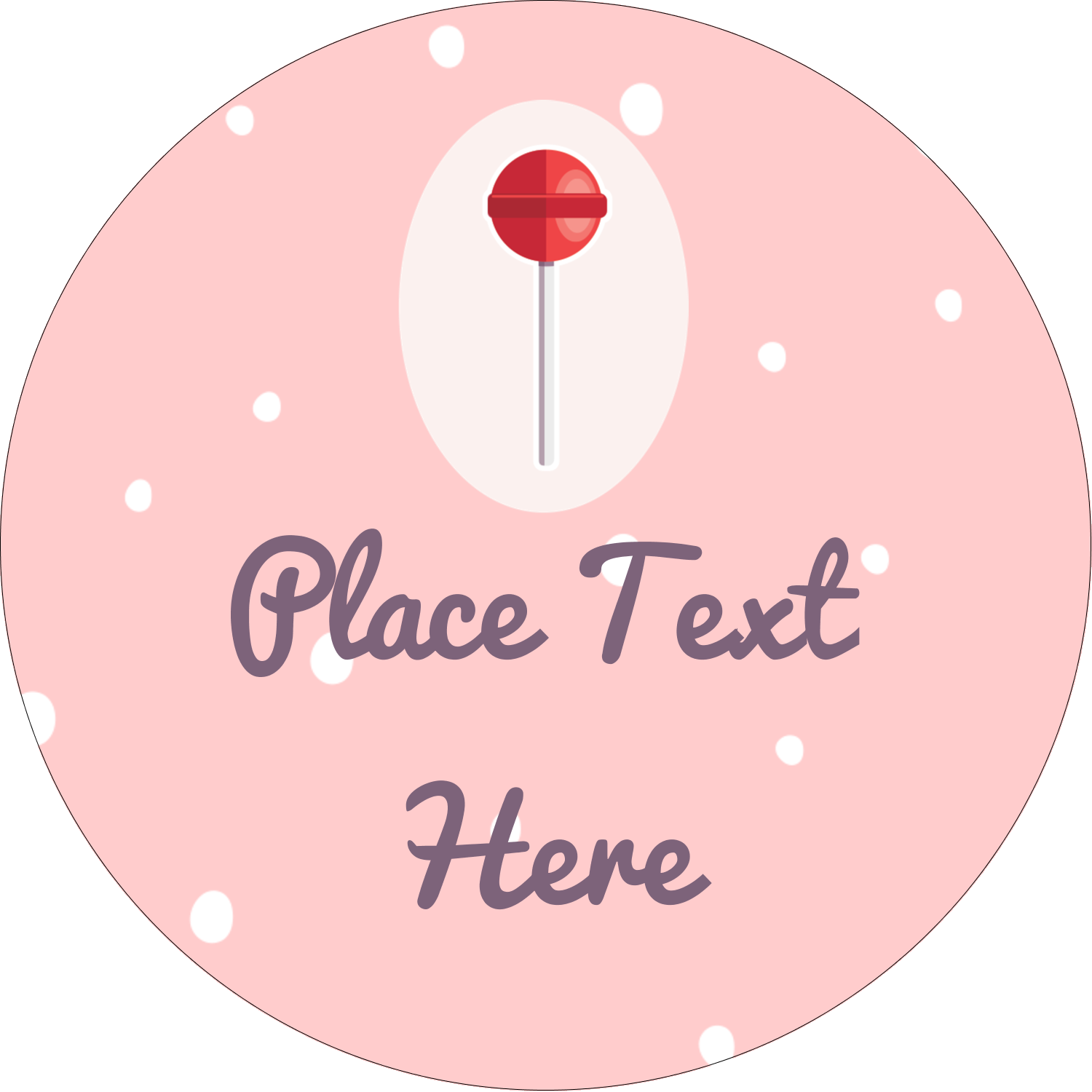 "2½"" Round Label - Valentine Lollipop"