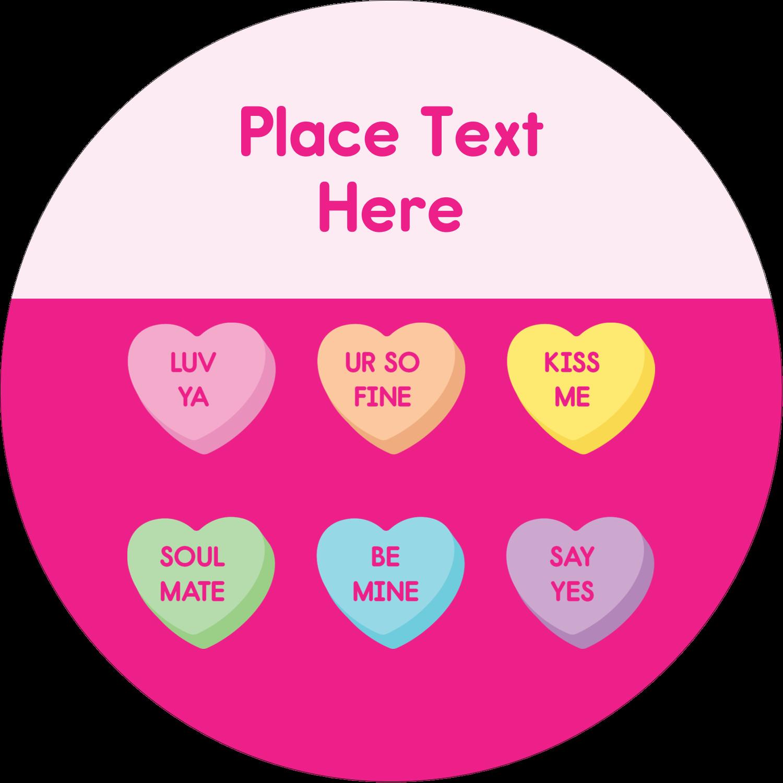 """2½"""" Round Label - Valentine Heart Candy"""