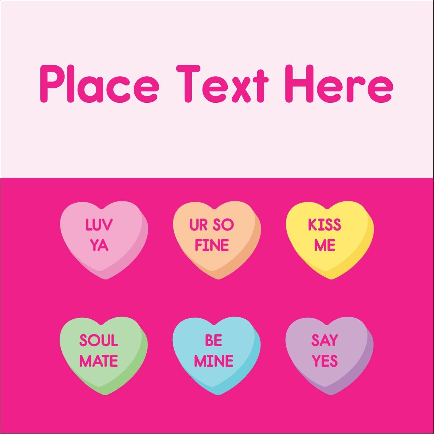 """2"""" x 2"""" Sqaure Label - Valentine Heart Candy"""