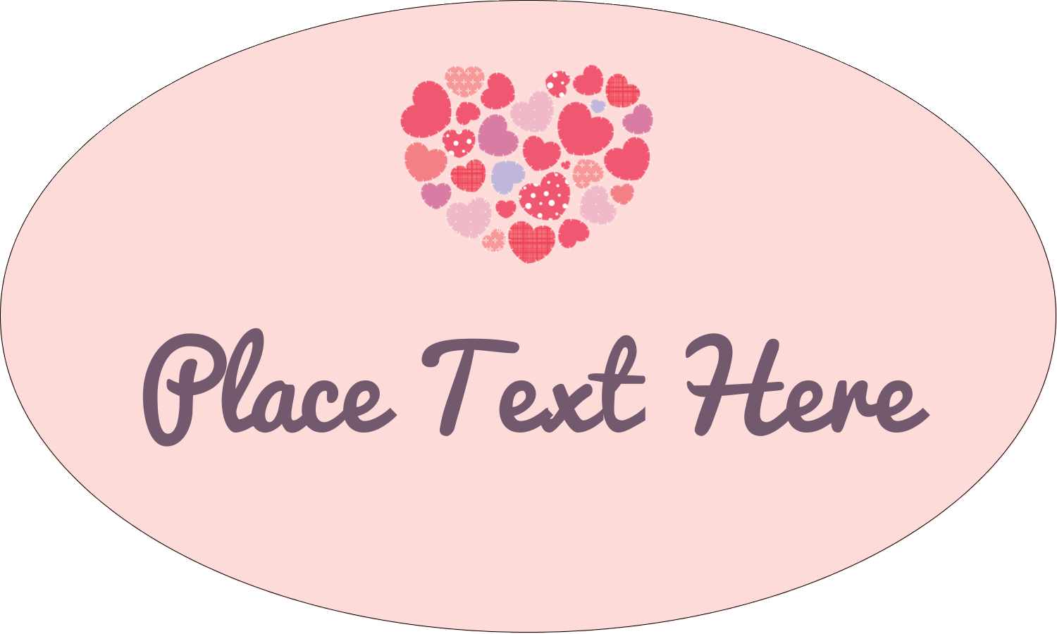 "1½"" x 2½"" Oval Glossy Label - Heart Quilt"