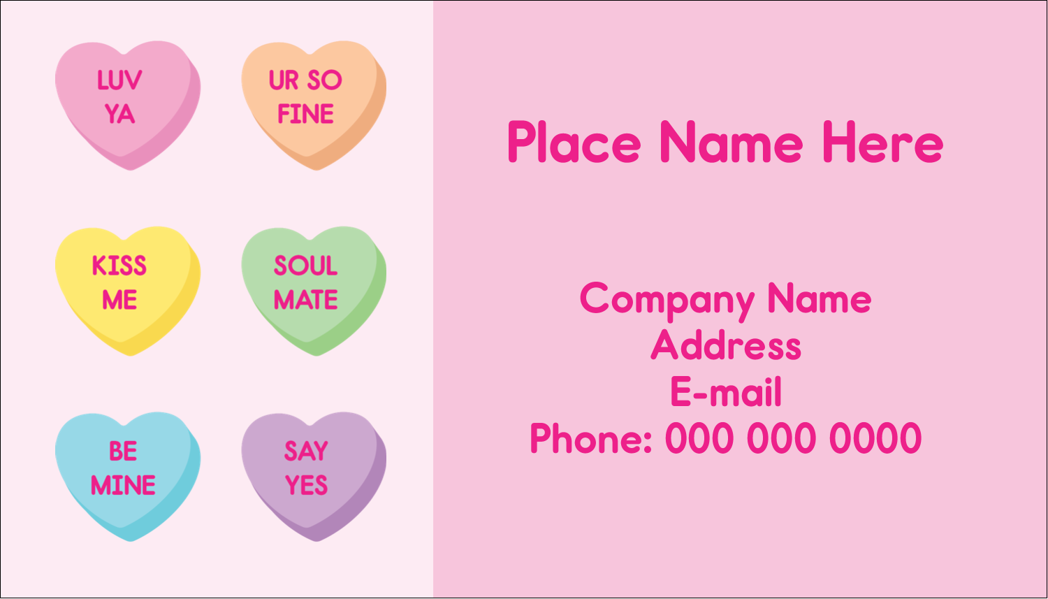 "2"" x 3½"" Business Card - Valentine Heart Candy"