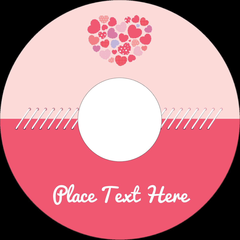 "4.65"" CD-DVD Label - Heart Quilt"
