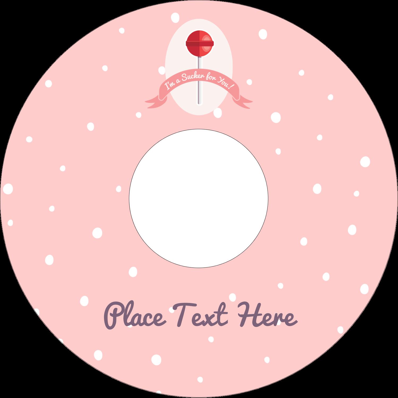 "4.65"" CD-DVD Label - Valentine Lollipop"