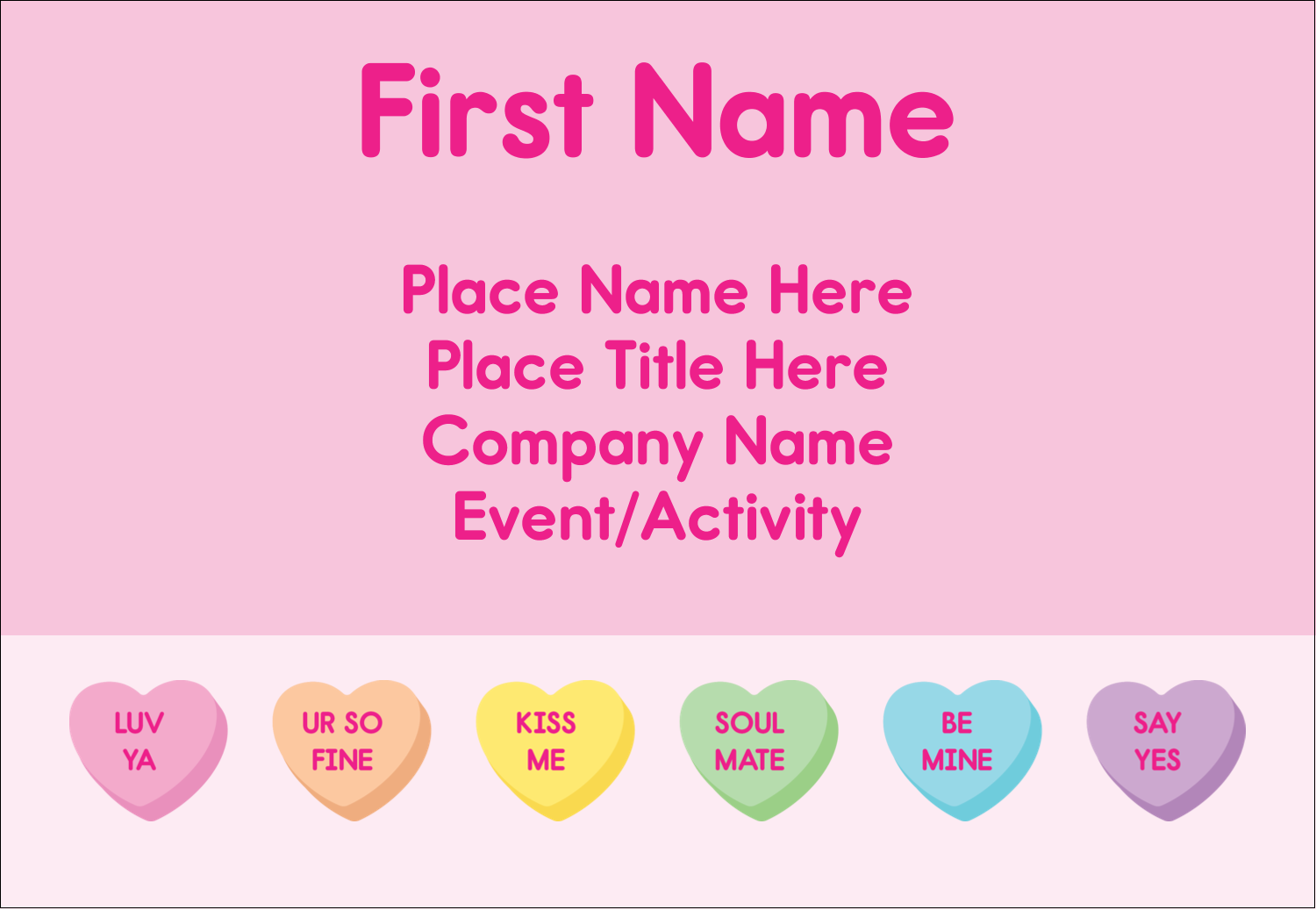 "3⅜"" x 2⅓"" Name Badge - Valentine Heart Candy"