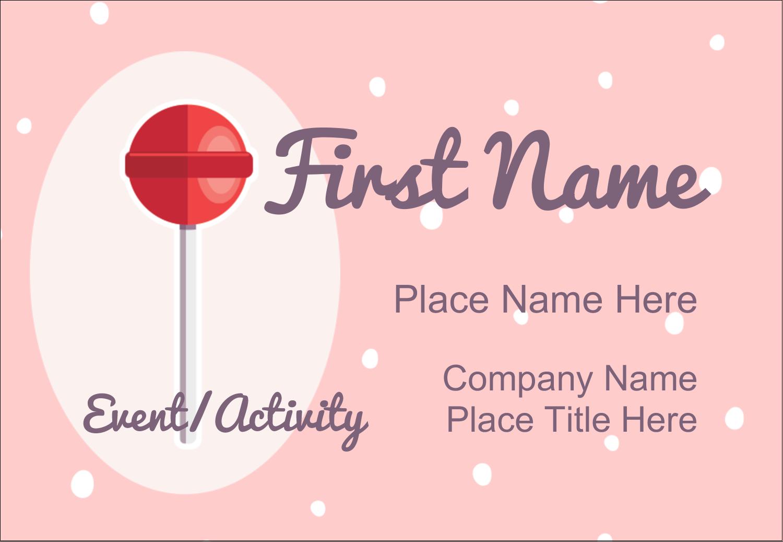 "3⅜"" x 2⅓"" Name Badge - Valentine Lollipop"